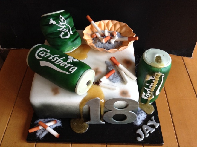 Cigarettes and beer cake was the idea of the recipients mother